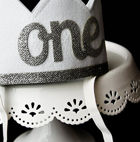 Baby Girl and Boy FIRST BIRTHDAY Sparkly Silver ONE Crown I Am 1 by Birdy Boutique (Image #5)