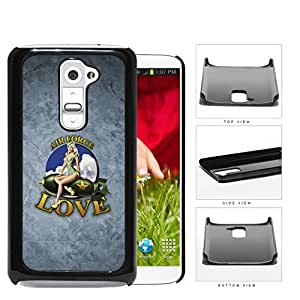 Air Force Love with Retro Pin up Girl on Plane and Grunge Background LG G2 Hard Snap on Plastic Cell Phone Case Cover
