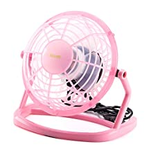 USB FAN - iKross USB Mini Desktop Office Fan with 360 Rotation - Pink