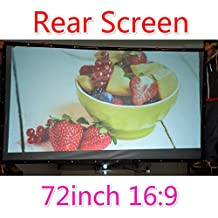 Rear Projection Film, Finished Edge Projector Screen with Grommets, Translucent, Gray (16:9 72-300 inch) (72 inch 168x93cm)