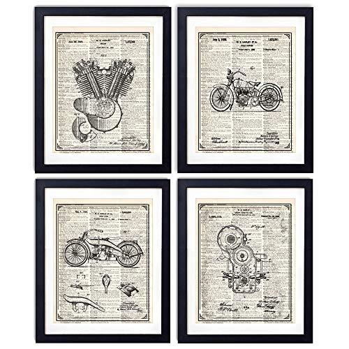 Harley Davidson Patent Wall Art Prints - Vintage Book Art Prints Set of Four (8x10) Unframed - Harley Davidson Gifts for Men