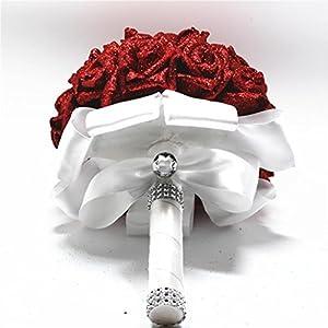 YJYdada Artificial Flower, Crystal Roses Pearl Bridesmaid Wedding Bouquet Bridal Artificial Silk Flowers De 3