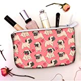 VOTANTA - Pug Love Accessory Pouches For Women and Girls (Pink) (8.5X6 INCH)-D620008