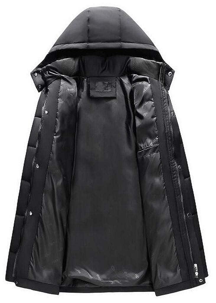 MMCP Men Regular Fit Warm Longline Hooded Down Quilted Jacket Coat Outwear