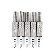 Areyourshop 5 Pcs 4 Pole 3.5mm Male Repair Headphone Jack Plug Audio Soldering Adapter