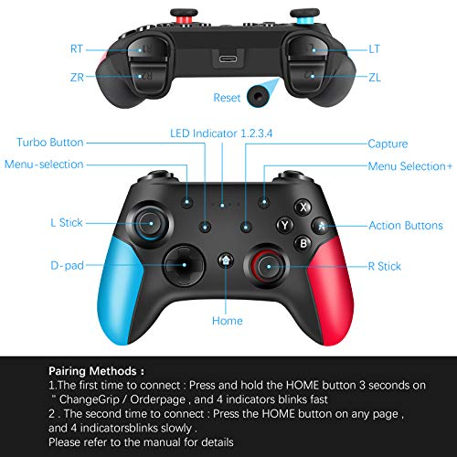 Wireless Pro Controller for Switch/Switch Lite Remote Pro Controller Gamepad Joystick with Dual Vibration, Gyro Axis, Adjustable Turbo and Motion Support Wake Up