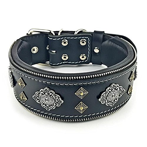 XXL- fits a neck of 25.6 29.5 inch Bestia Aztec BLACK genuine leather dog collar for large breeds. 2.5 inch wide. Soft padded. Made in Europe