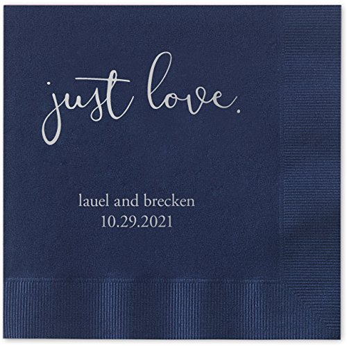 Just Love Personalized Beverage Cocktail Napkins - 100 Custom Printed Navy Blue Paper Napkins with choice of (Love Beverage Napkins)