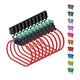 14 Gauge Fuse Holder ATC/ATO, SIM&NAT 10 Packs in-Line Automotive Blade Fuse Holder with 50PCS Standard Car Fuses, 1A 2A 3A / 4A 5A 7.5A 10A 15A 20A 30A Automotive Replacement Fuses