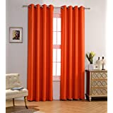mysky home solid grommet top thermal insulated window blackout curtains 52 x 84 inch orange 1 panel