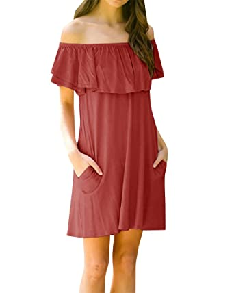 7dc85f4bf32 GAMISOTE Womens Off The Shoulder Ruffle Midi Dresses Casual Summer Dress  with Pockets Burgundy