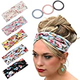 Headbands for Women Workout Cute Knotted Criss Cross Hairbands Printed Stretchy Hair Accessories 5 Pack