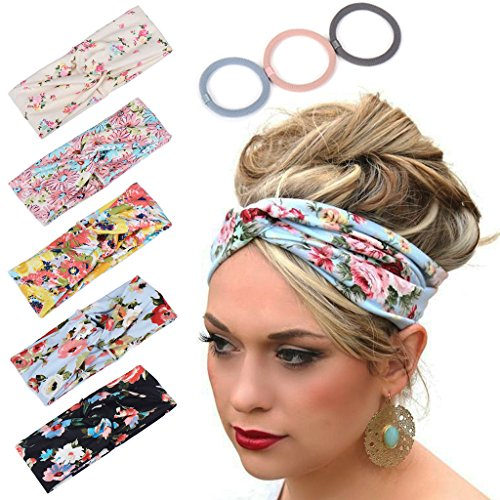Headbands for Women Workout Cute Knotted Criss Cross Hairbands Printed Stretchy Hair Accessories 5 Pack by SHOWOWN