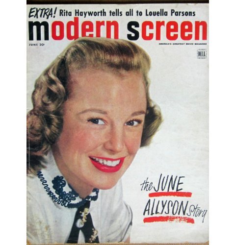 MODERN SCREEN magazine June 1952 June Allyson cover. Inside articles and photos include Humphrey Bogart (winning oscar for AFRICAN QUEEN) with Greer Garson, Danny Kaye, Arthur Freed, Karl Malden and George Stevens. NOTE: Back cover missing on this issue. All magazines shipped in a protective-archival sleeve.