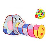 Biscount Pop-Up Play Tent Multi-Color Elephant Tunnel Indoor & Outdoor Playhouse with 50 Balls