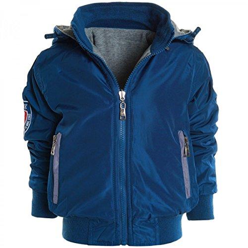 Kinder Wendejacke Kapuzenpullover Hoodie Jacke Sweat Shirt Rollkrakgen 20523, Farbe:Blau;Größe:104