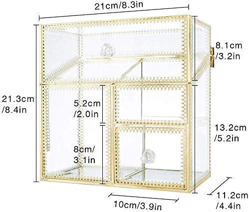 透明防塵化粧品収納ボックスレトロな真鍮スキンケア製品アイブロウリップスティックデスクトップガラスブラシバケツラック(送信真珠)