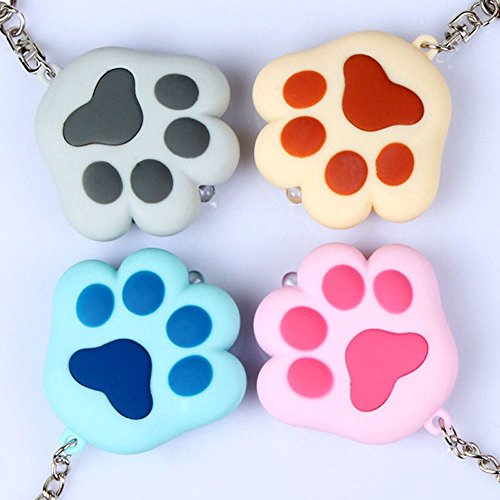Cute Cat Paw Pendant LED Light Key Chain With Sound Torch Keyring Keyfob Gift