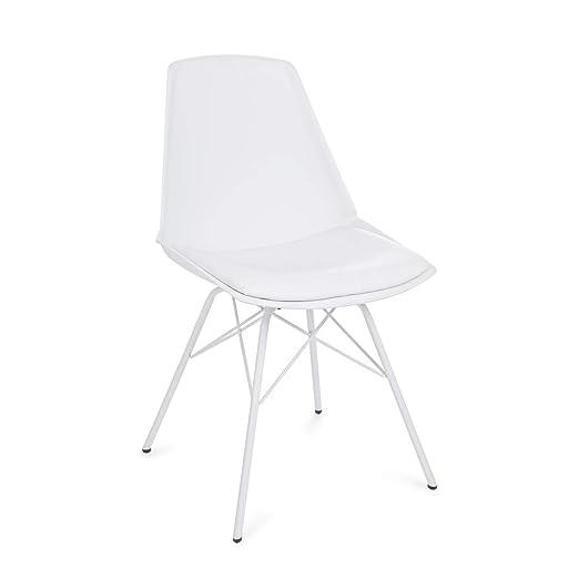 ARREDinITALY Juego de 4 sillas de diseño Asiento con cojín y ...