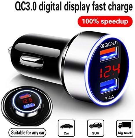 車の充電器1つのドラッグ2つのシガーライター変換プラグ多機能デュアルUSB携帯電話高速充電(データケーブルを送信)サイズ:6.2 * 3.2 cm