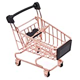 Dolland Mini Shopping Cart Supermarket Handcart Shopping Utility Cart Storage Toy Basket Desk Pen Holder,S-Rose Gold