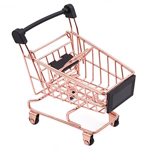 Dolland Mini Shopping Cart Supermarket Handcart Shopping Utility Cart Storage Toy Basket Desk Pen Holder,S-Rose Gold
