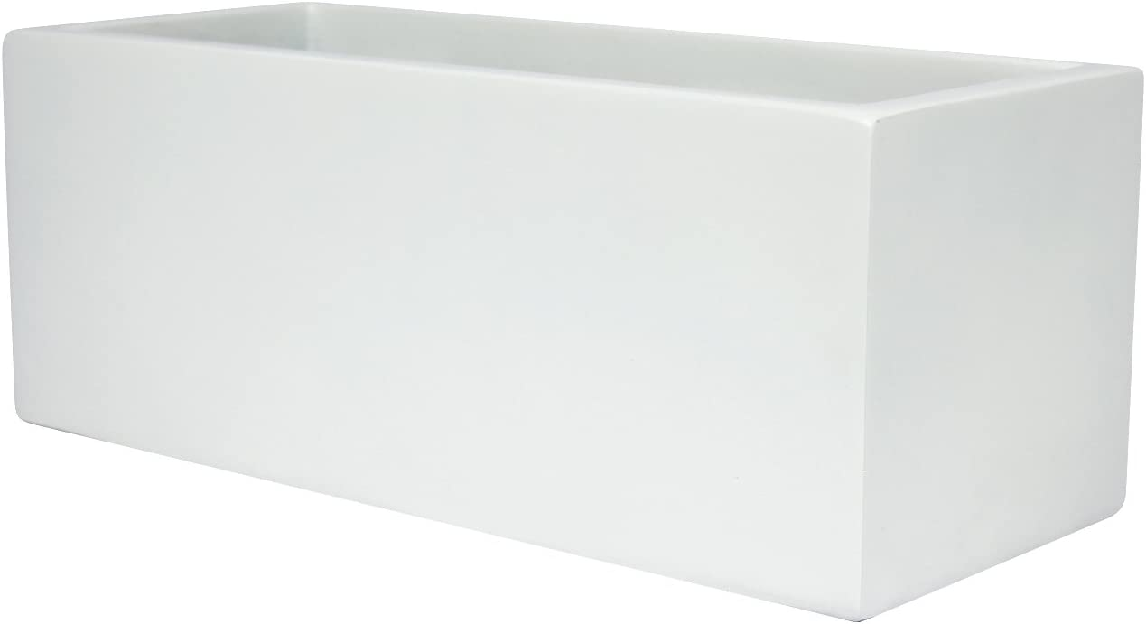 Belmont Rectangle Fiberglass Planter Box, White, L 24 x W 8 x H 8