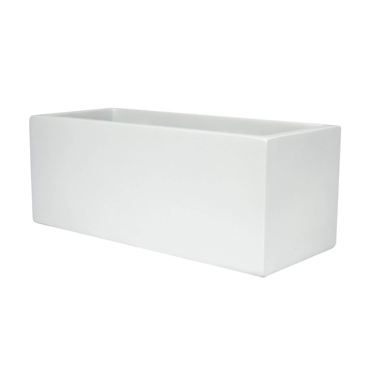 Brisbane Rectangle Fiberglass Planter Box L 48 x W 18 x H 20 , Matte White