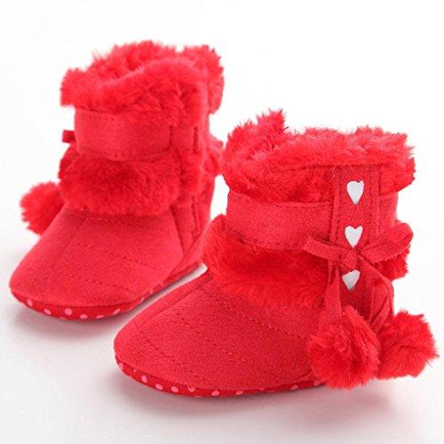 ❆Huhu833 Kinder Mode Baby Stiefel Soft Sole, Keep Warm Schnee Stiefel Kleinkind Stiefel Warm Schuhe (0-18 Month) Rot -A