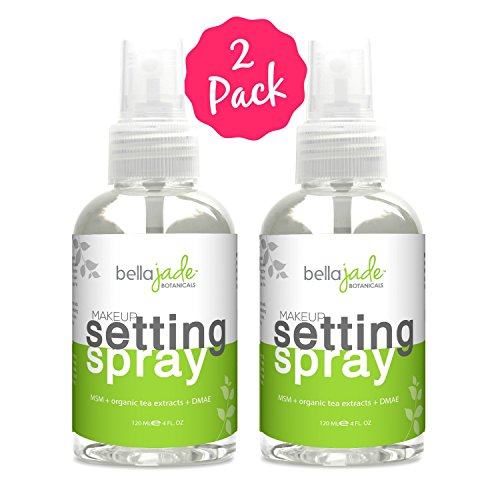 Makeup Setting Spray with Organic Green Tea, MSM and DMAE – A Must for Your Natural Anti Aging Skincare Routine – large 4 ounce bottle (2-Pack)