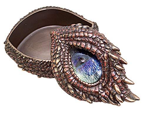 Veronese Design Resin Decorative Boxes Antique Bronze Finish Thorny Dragon Eye Trinket/Stash Box 4.75 X 3 X 3.5 Inches Bronze