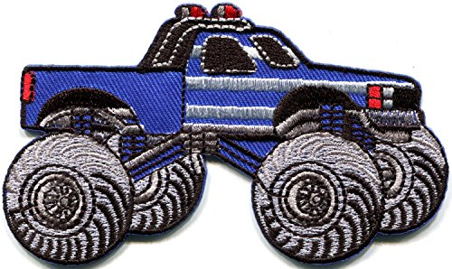 (Monster truck 4 X 4 pickup auto racing ute embroidered applique iron-on patch new )