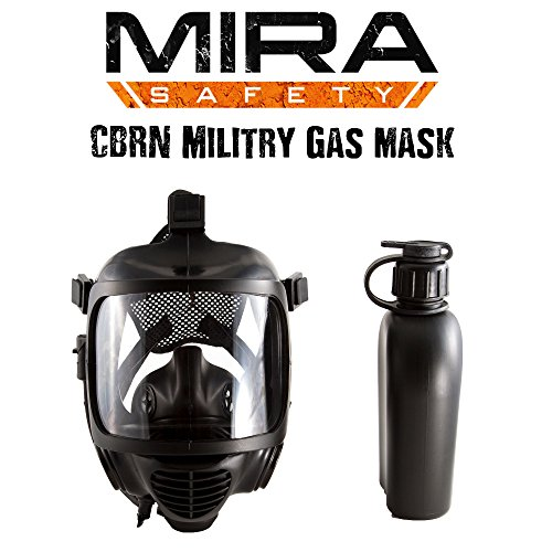 MIRA NBC Full Face Emergency Gas Mask Certified With EN 136– Durable Bromobutyl Rubber, Wide Visor, Ergo Speech Diaphragm – Protect Against CBRN Nuclear, Biological, Radiological Agents (Mask System) ()
