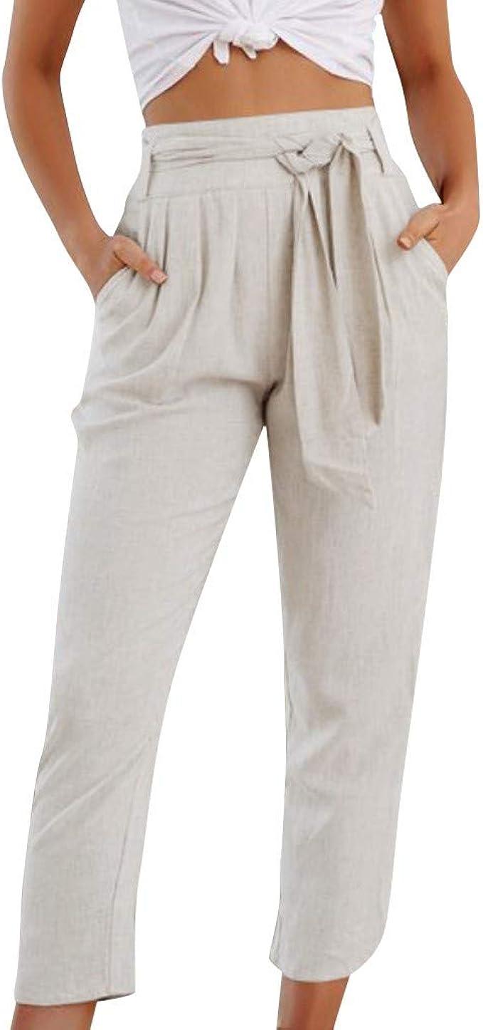 estivi con elastico in vita e tasconi stile casual Pantaloni comodi in cotone leggero