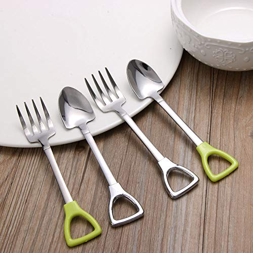 New Edify Ltd Stainless Steel Flatware 1Pcs Long Handle Coffee Ice Cream Soup Spoon for Kids Large Fork green