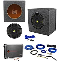 KICKER 44CWCS104 CompC 10 500w Car Subwoofer+Sealed Sub Box+Amplifier+Amp Kit