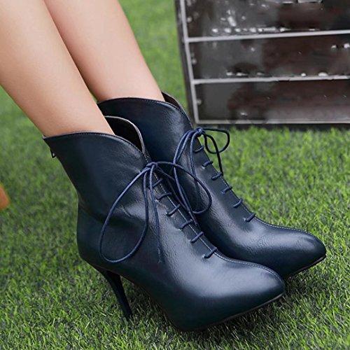 AIYOUMEI Damen Stiletto Stilefeletten mit Schnürung und 9cm Absatz Reißverschluss Stiefel Schnürstiefeletten Blau