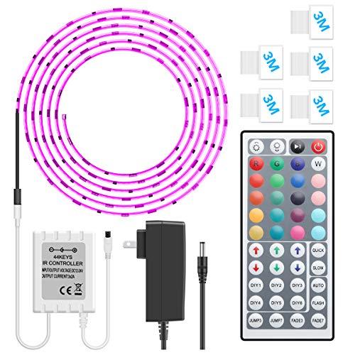 MINGER LED Strip Light Waterproof 16.4ft RGB SMD 5050 LED Rope Lighting Color Changing Full Kit with 44-keys IR Remote Controller & Power Supply Led Strip Lights for Home Kitchen -