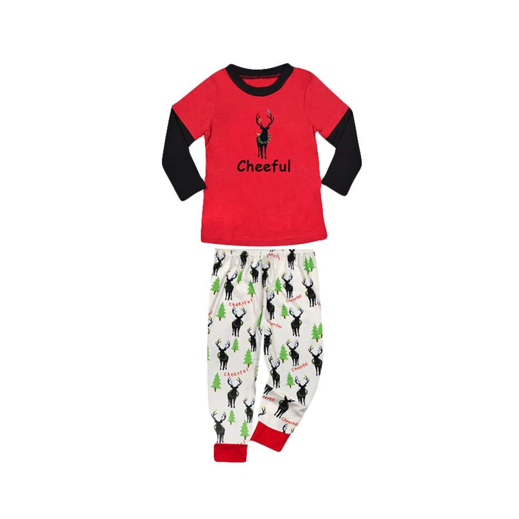 Christmas Pajamas Sets Family Matching Sleepwear, Cartoon Pattern Long Sleeve Shirt and Long Pants Xmas Nightwear Pyjamas Homewear Clothing for Father Mother Kid Baby