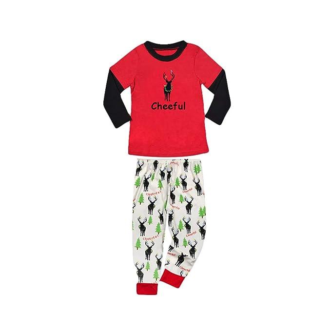 Pijamas de Navidad para Familia, Moda Manga Larga Cuello Redondo Camisas + Pantalones 2 Piezas