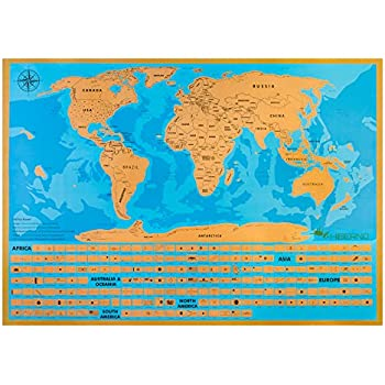 Hiberno Scratch The World Travel Map Usa States And All Countries Flags Premium Quality