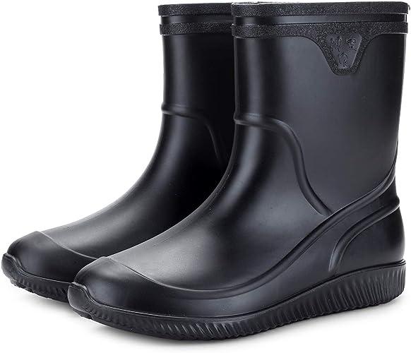 Herren Wasserdicht PVC Gummistiefel Wellington Regenstiefel Stiefeletten