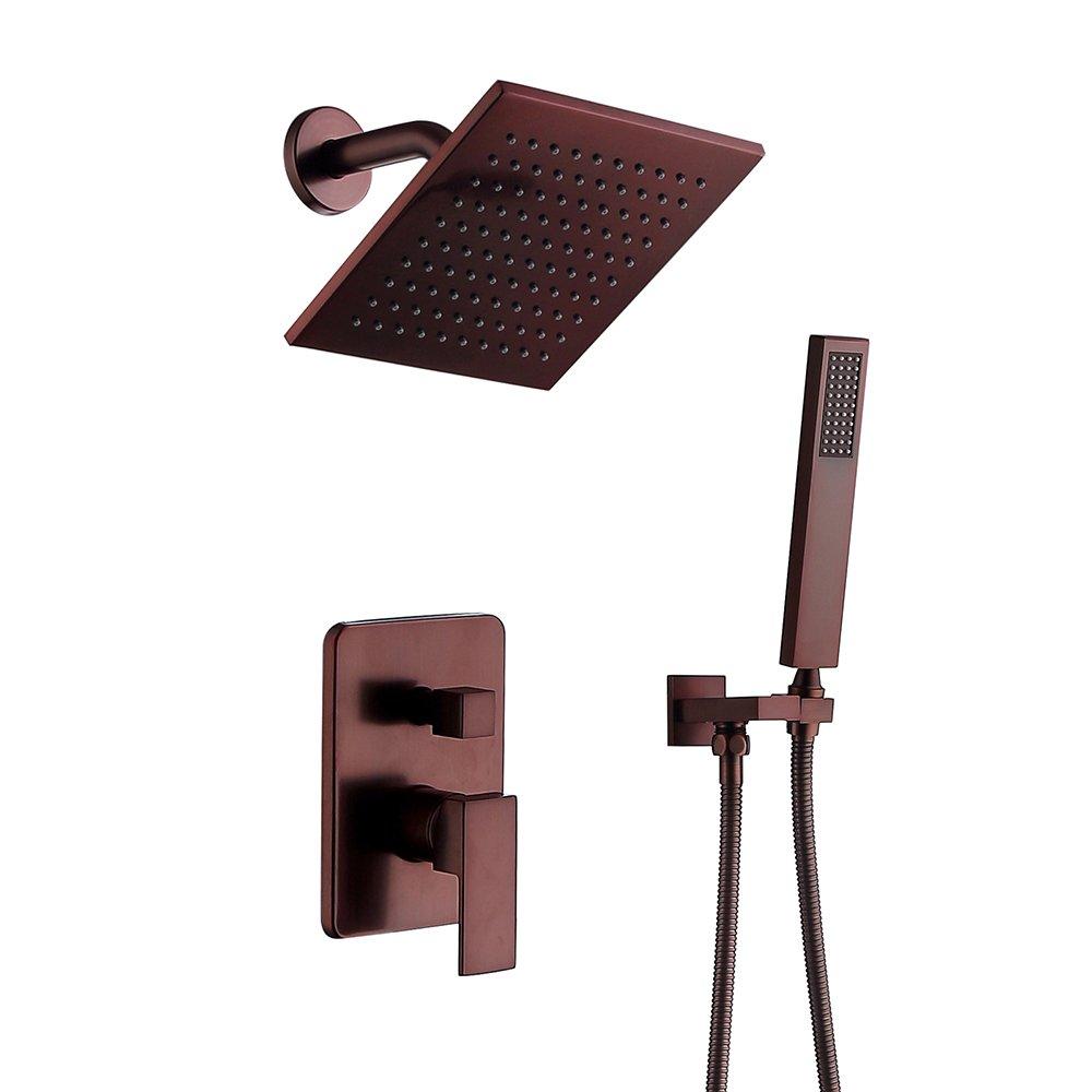 Bathroom Shower Faucet Set Metal 8-inch Rain Shower Head + Handheld Sprayer, Oil Rubbed Bronze by Bwaiyuk