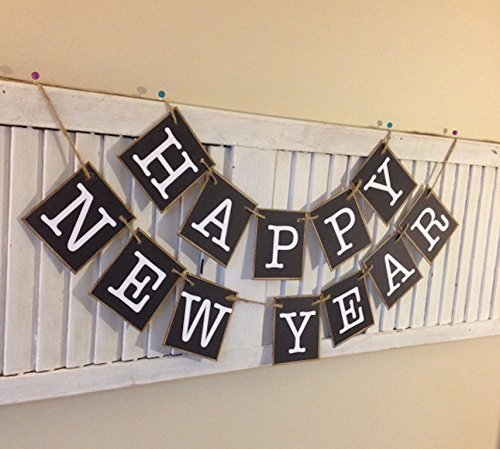 happy new year bunting banner swag sign garland black and white great party photo prop new
