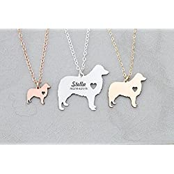 Aussie Dog Necklace - Australian Shepherd - IBD - Personalize with Name or Date - Choose Chain Length - Pendant Size Options - 935 Sterling Silver 14K Rose Gold Filled Charm - Ships in 1 Business Day