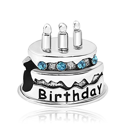 JMQJewelry Birthstone Birthday Cake Candles Charm March Crystal Rhinestone Beads For Charms Bracelets