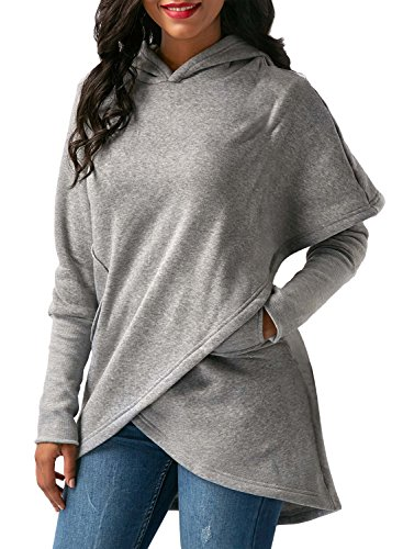 Women Fashion Casual Hooded Long Sleeve Solid Pullover Hoodie - 2