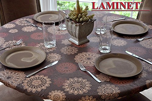 LAMINET Elastic Fitted Table Cover - Medallion - Large Round - Fits Tables up to 45