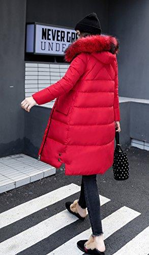 Polyester Manteau Doudoune Manches Rouge Chaud Femme Longues Capuche Bigood Hiver wU1nIqaCC