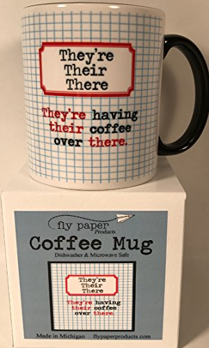 Quality Mug Handmade in USA for a Book Lover Writer Librarian Teacher Love to Read Reader Grammarian - They're Their There - 11 oz. Ceramic for Coffee Tea Cocoa - Great Gift For Women and Men